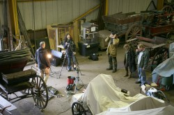 Filming for Technicians Tales in Staffordshire County Museum's large objects store